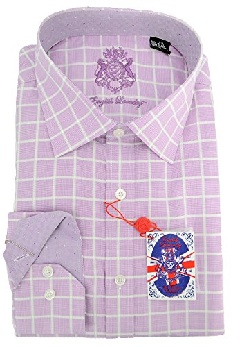 (English Laundry Mens Classic Fit Dress Shirt, 17.5 32/33, Purple)
