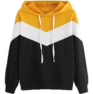 LONUPAZZ Femme Sweat à Capuche Patchwork Manche Longue Casual Sweatshirt  Hauts Chemisier Hiver 824e0cbbe05