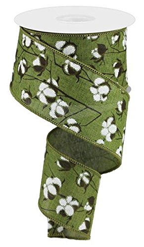 Cotton Pods Moss Green White Wired Ribbon (2.5 Inches x 10 Yards)