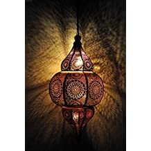 Lalhaveli Vintage Decorative Moroccan Hanging Pendant Light Fixture/Indoor & Outdoor Home Decor Ceiling Light for Living Room, Bed Room, Garden, Balcony & Patio, Metal Polished Brass Finish