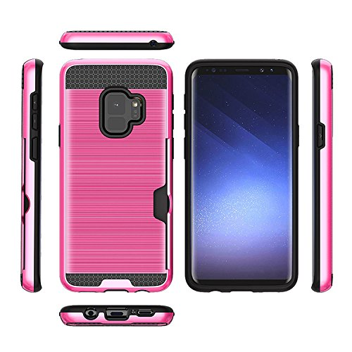 Samsung Galaxy S9 Phone Case : Metallic Rugged Hybrid Dual Layer Shock Proof Armor Defender Protective Ultra Slim Case Cover - Galaxy S9 with Credit Card Holder Slot Wallet 2018 (Top Pink Violet)