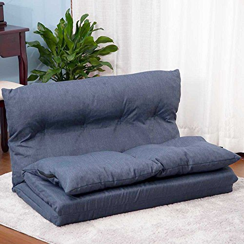 Merax Fabric Folding Chaise Lounge Floor Gaming Sofa Chair (Navy Blue) (Navy Blue Padded Recliner)