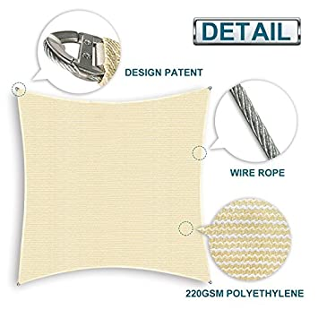Coarbor 20 x24 Rectangle Sun Shade Sail Wire Rope Hemmed All Edges Super Heavy Duty Strong Double Stitched Seam Perfect for Patio Deck Yard Garden -Customized Beige