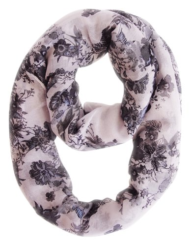 Spring Fashion Cherry Blossom Floral Print & Hummingbirds Infinity Loop Scarves (Black & White)