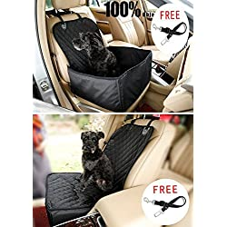 Pet Front Seat Cover Pet Booster Seat, C&D Deluxe 2 in 1 Dog Seat Cover for Cars Waterproof Dog Front Seat Cover Pet Bucket Seat Cover WITH SAFETY BELT(BLACK)