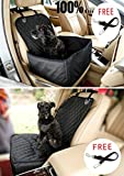 Cheap Pet Front Seat Cover Pet Booster Seat, C&D Deluxe 2 in 1 Dog Seat Cover for Cars Waterproof Dog Front Seat Cover Pet Bucket Seat Cover WITH SAFETY BELT(BLACK)