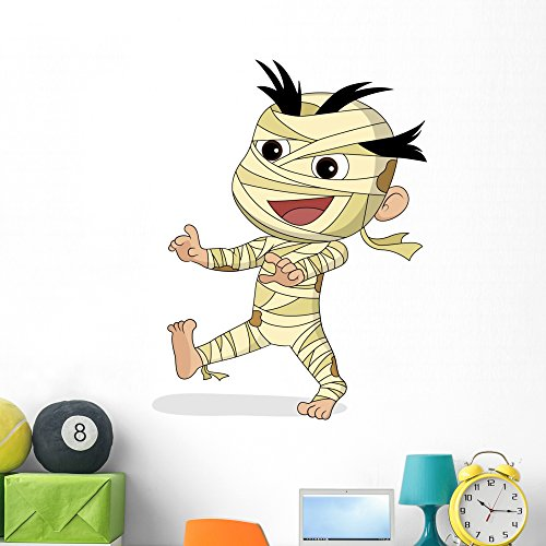 Wallmonkeys Happy Halloween Cute Mummy Wall Decal Peel and Stick Graphic (48 in H x 48 in W) WM363031 -