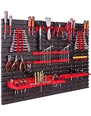 Opslagsysteem, wandrek, 115 x 78 cm, gereedschapshouders, opbergkast, extra sterke wandplaten, uitbreidbaar, werkplaatsrek, opbergrek, werkplaatswandrek, steekrek