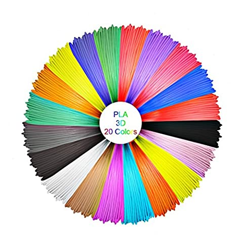 ELEGIANT 3D Pen Filament Refills - 1.75mm Smoothest PLA 330 Linear Feet - 16 Different Colors and 4 Glow in Dark Colors - Environmentally Friendly, Universal Compatibility, Refills for True - 16 Linear Feet