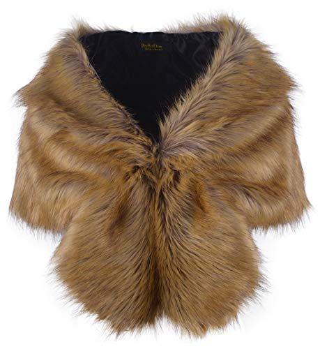 Medium Faux Fur - RoRoDox Warm Faux Fur Wedding Shawl Perfect for Wedding/party/show (Fox Medium Size)