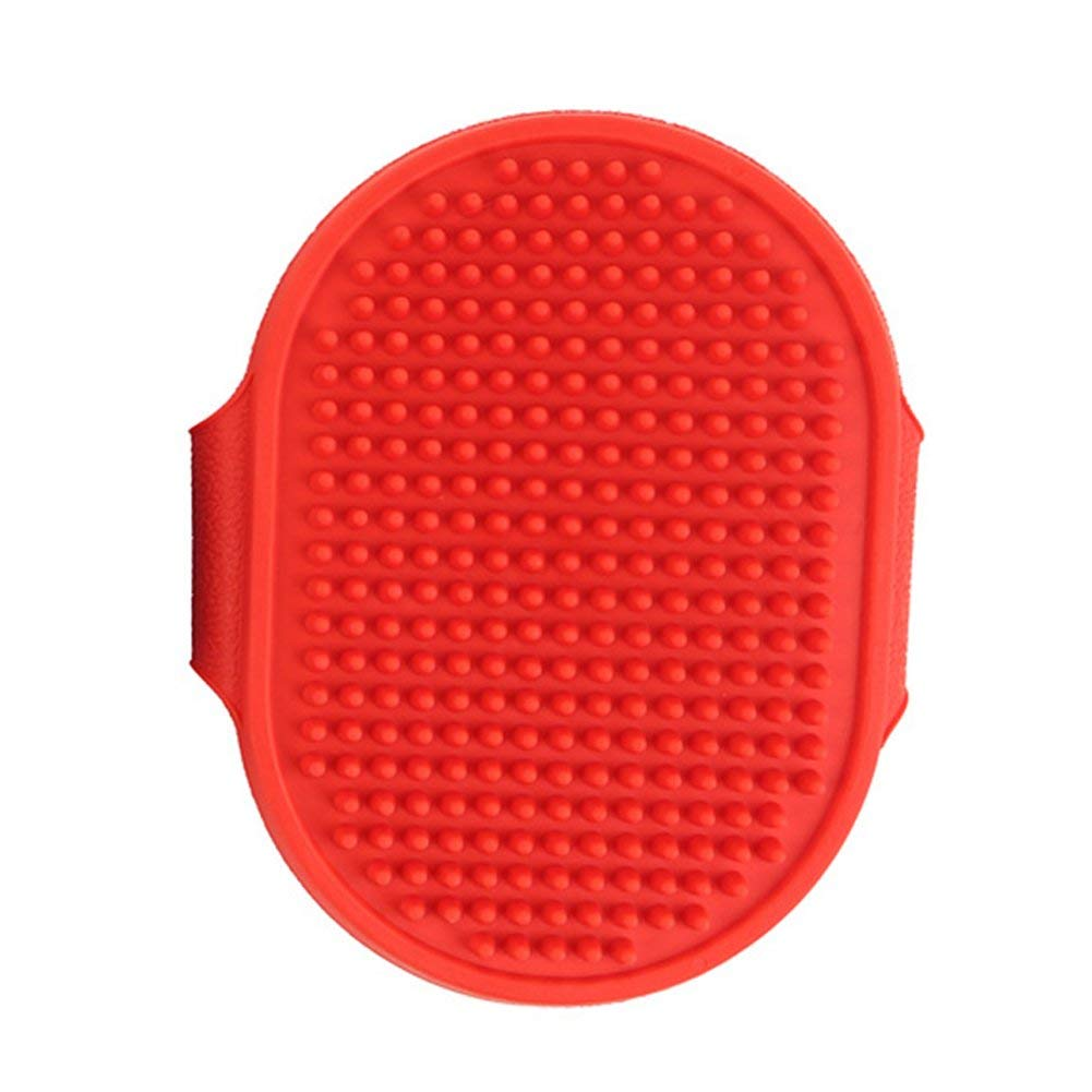 Yevison Pet Rubber Grooming Massage Hair Removal Bath Brush Glove Dog Cat Puppy Comb Red Durable and Useful