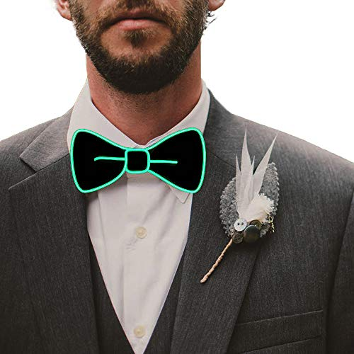 Fixinus LED Light Up Bow Tie Perfect for Christmas Halloween New Years Music Festival Rave Party (Green)]()