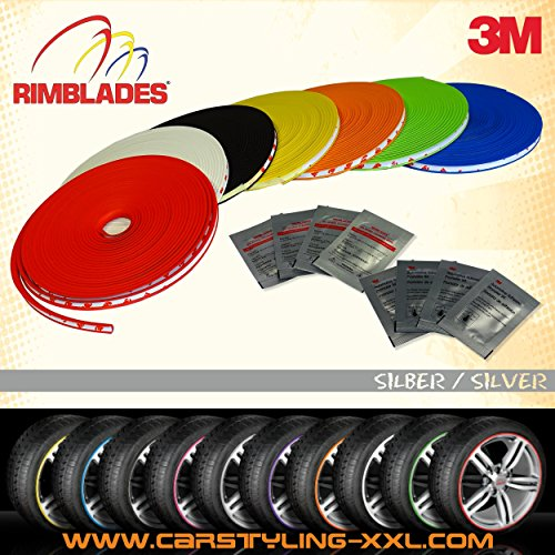 NEW - Rimblades with 3M glue - Singlepack - colour: silver - Premium rim protection and styling for alloy wheel rims up to 22'' (Wheel Silver 22')