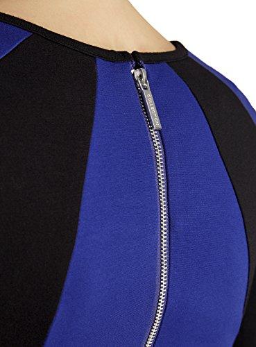 Empicements oodji Bleu avec Moulante Robe Ultra 7529b Contrasts Femme xBgqBX6