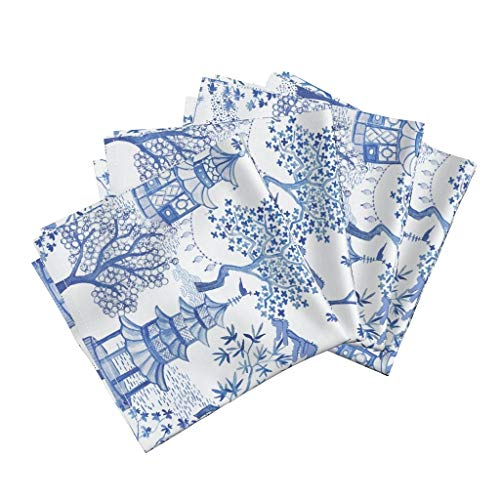 - Roostery Pagoda Organic Sateen Dinner Napkins Pagoda Chinoiserie Blue White Vintage Pagoda Cloud Chinoiserie Toile Landscape Blue Willow Blue by Danika Herrick Set of 4 Dinner Napkins