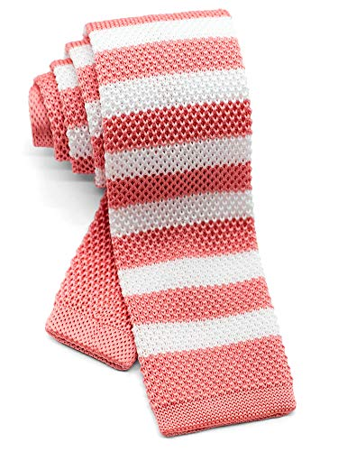 WANDM Men's Knit Tie Slim Skinny Square Necktie Width 2.2 inches Washable Horizontal Awning Stripe Coral Pink and White