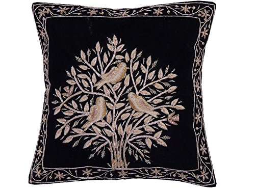 (NovaHaat Black Velvet 100% Hand Embroidered Decorative Indian Toss Throw Accent Pillows Cushion COVER with Tree of Life in Gold Metallic Dabka work embroidery, from Uttar Pradesh in North India: Size )