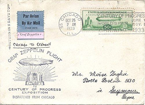1933 Graf Zeppelin Flight Letter And Cover Flew On Graf Zeppelin From Chicago Worlds Fair To Germany To Texas 50 Cent Green Zeppelin US Postage Stamp Scott #C18 Graf Zeppelin Cover