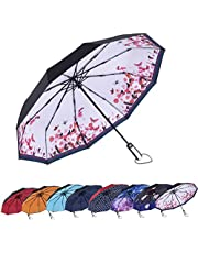 AmaGo Automatic Folding Umbrella - 10 Ribs Windproof, 210T Water Repellent, Auto Open & Close, Women and Men Traveling Umbrella