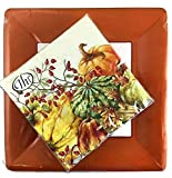 Ideal Home Range 20 Lunch Napkins Calabaza Cream + 8 Terracotta Classic Linen Dinner Plates | Party Bundle