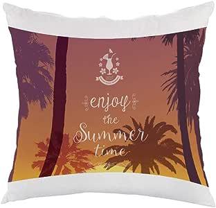 enjoy the summer time Printed Pillow, white velvet Fabric 40X40 cm