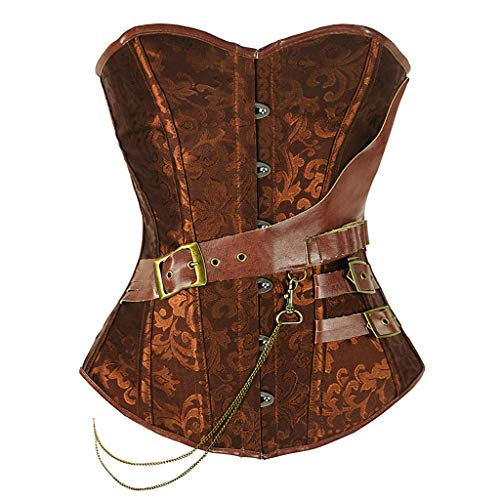 Womens Steampunk Gothic Lace Up Corset Trim Overbust Bustier Tops Cincher Training Bodyshaper Coffee