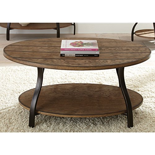 Country Style Oval Shaped Cocktail Coffee Table with Bottom Shelf | Metal Tube Legs, Wooden Top | Oak Finish, Living Room Decor - Includes Modhaus Living - Oval Coffee Oak Table