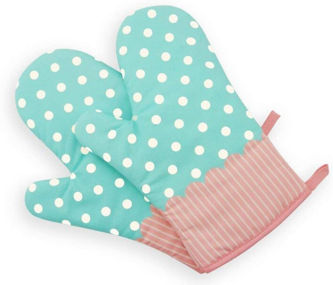 Set of Two Oven Mitts   Heat Resistant Cotton Kitchen Pot Holder Gloves for Cooking,Barbecue,Baking,Grilling (Dotted Blue)