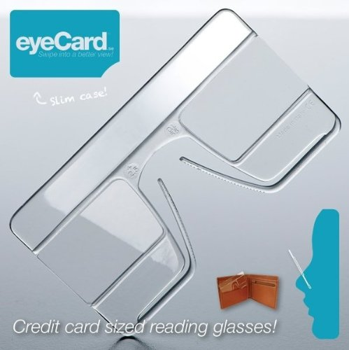 eyeCard® - set of 2 - most compact revolutionary reading glasses - hands-free wearable magnifying glass – pince nez readers - size of a credit card - universal on-the-go - Pince Nez Sunglasses