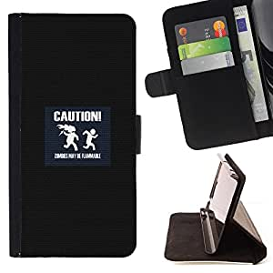BullDog Case - FOR/Samsung Galaxy S3 Mini I8190Samsung Galaxy S3 Mini I8190 / - / caution symbol slogan quote sign zombies /- Monedero de cuero de la PU Llevar cubierta de la caja con el ID Credit Card Slots Flip funda de cuer