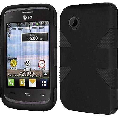 LG Aspire LN280 / 306G / LG 305C Case, Dynamic Hybrid Dual Layer Case Cover for (Tracfone StraightTalk Net10) LG 306G / LG 305C ( Dynamic Black)