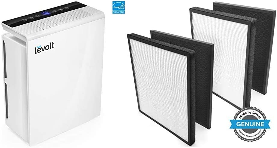 LEVOIT Air Purifier for Home Bedroom, H13 True HEPA Filter for Extra-Large Room & Air Purifier LV-PUR131 Replacement Filter True HEPA & Activated Carbon Filters Set, LV-PUR131-RF (2 Pack)