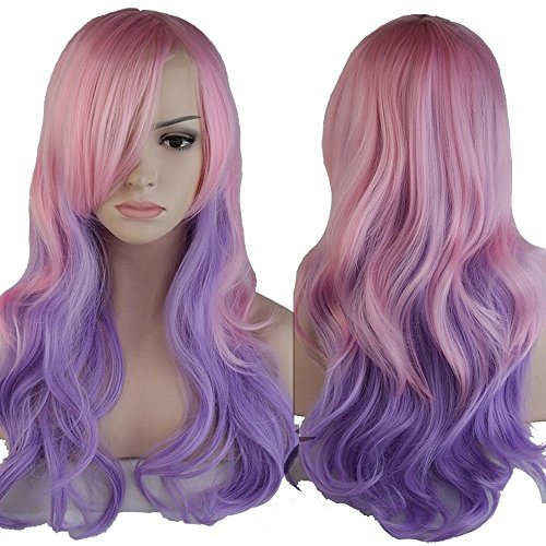 Ombre Cosplay Full Hair Wigs Women Long Wavy Anime Dress 60cm Curly Pink Purple (Color Wig)