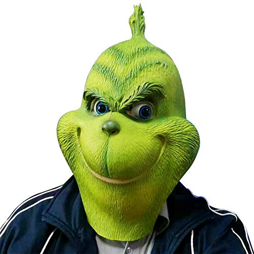 Grinch Mask Stole Christmas Dr Seuss Full Head Latex Flexible Helmet Halloween Costume Prop Fancy Ball Soft Mask -