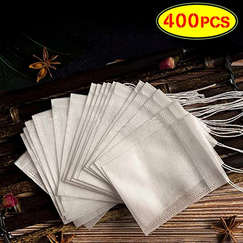 LAOSGE 400pcs Tea Filter Bags, Disposable Paper Tea Bag with Drawstring Safe Strong Penetration Unbleached Paper for Loose Leaf Tea and Coffee(3.54 x 2.75 inch)