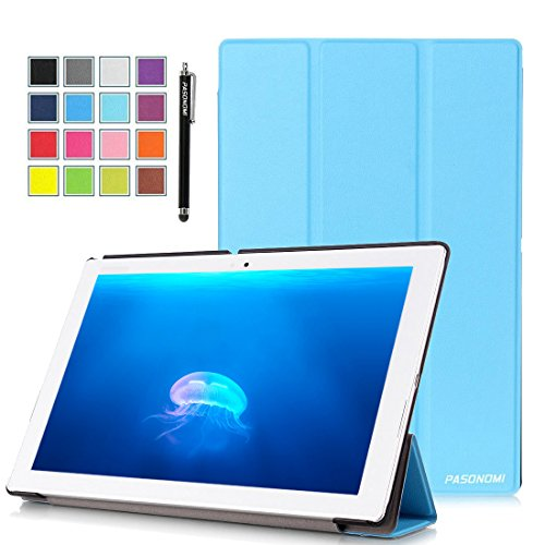 Sony Xperia Z4 Tablet Case, Pasonomi® Ultra-Slim and Ultra-light PU Leather Folio Case Stand Cover With Smart Cover Auto Wake / Sleep Feature for Sony Xperia Z4 Tablet-PC 10.1 inch (Slim Series Light Blue)