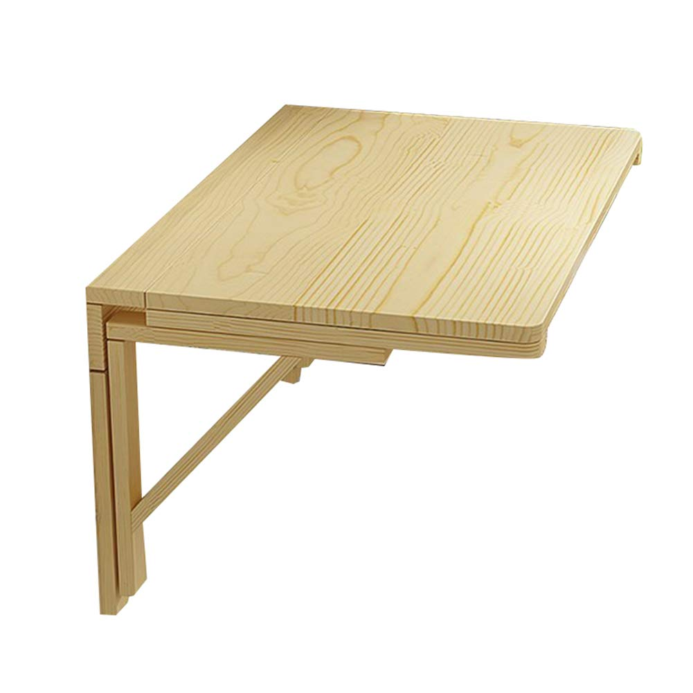 Wood color 60x50CM PENGFEI Wall-Mounted Table Laptop Stand Desk Foldable Kitchen Countertop Study Table Solid Wood, 7 Sizes (color   Wood color, Size   60x50CM)
