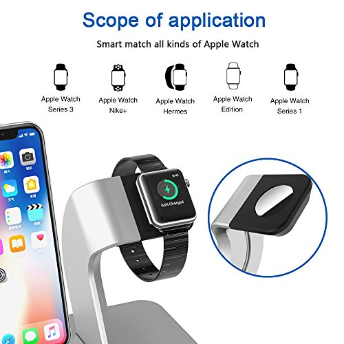 X DODD Replacement for Apple Watch Charging Dock,&Wireless iPhone Charging Stand for iPhone X 8 8 plus Samsung S9/S9+/S8/S8+/S7/Note 8,iWatch Charger Station Holder for iPhone iWatch Series 1/2/3 by XDODD (Image #4)