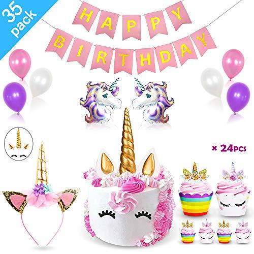 Daisyformals Unicorn Party Supplies Decorations with Unicorn Cake Topper,Unicorn Headband,24 Pcs Unicorn Cupcake Toppers Wrappers and Happy Birthday Banner + Unicorn Balloons Party Ballons (35 Packs)