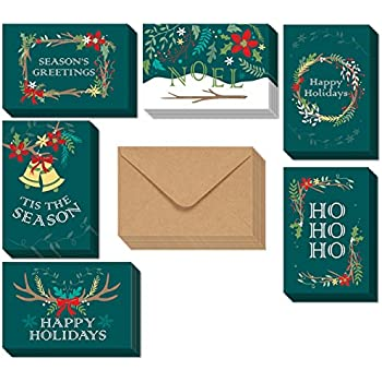 Amazon happy holidays greeting card gift tag collection 24 48 pack merry christmas greeting cards bulk box set holiday xmas greeting cards with 6 winter holiday designs envelopes included 4 x 6 inches m4hsunfo