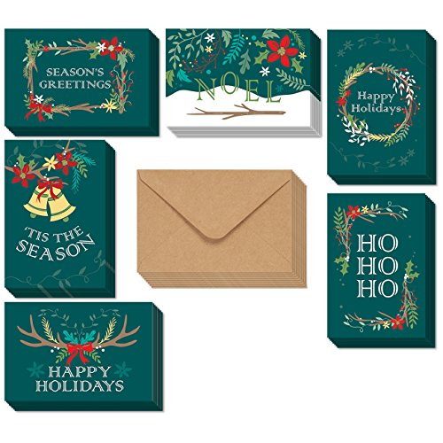 48-Pack Merry Christmas Greeting Cards Bulk Box Set - Holiday Xmas Greeting Cards with 6 Winter Holiday Designs, Envelopes Included, 4 x 6 - Greetings Christmas