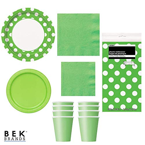 Bek Brands Lime Green Dots Party Supply Bundle Plates, Napkins, Cups and Tablecover - 57 pieces!]()