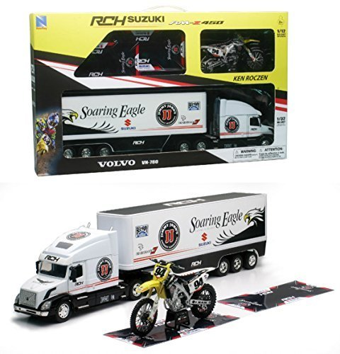 Orange Cycle Parts Die-Cast Replica Toy 1:32 Scale Model Volvo VN-780 Truck w/ 1:12 Scale Ken Roczen Dirt Bike RCH Suzuki Team Ken Roczen Gift Set by NewRay 14295 by Orange Cycle Parts