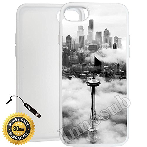 (Custom iPhone 7 Case (Seattle Space Needle Tower) Edge-to-Edge Rubber White Cover with Shock and Scratch Protection | Lightweight, Ultra-Slim | Includes Stylus Pen by Innosub)