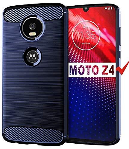 Moto Z4 Case, Moto Z4 Play Case, HNHYGETE Soft Slim Shockproof Anti-Fingerprint Full Protective Phone Cases for Motorola Moto Z4 Play (Blue)