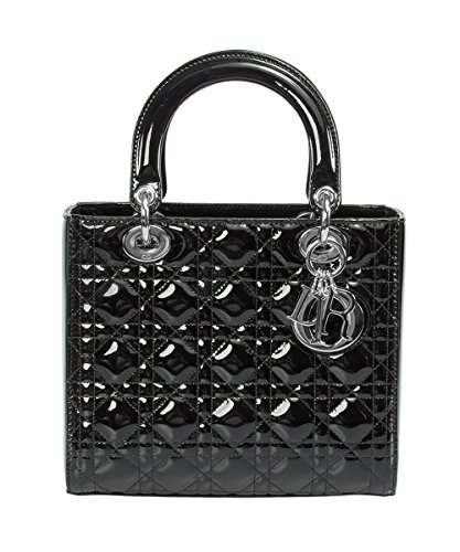 Dior Lady Patent Black with Silver Hardware, Black, (Dior Women Handbags)