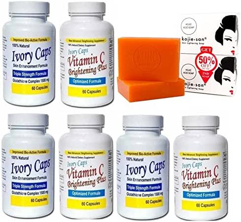 (Ivory Caps Skin Whitening Lightening 1500mg Glutathione Support Pill + Vitamin C Brightening Plus) + 1 Kojie San Skin Lightening Kojic Acid Soap 2 Bars - 65g (3 set of (Ivory Caps + Vitamin C) + 1 Soap)