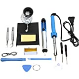Electronic/Wood Tools Kit Complete Set Soldering Beginner Equipment DIY Hand Craft Toy Tools Suitable for Electronics hobbies kits, Wood burning and Repair work Idea Inventor Gifts EWSL03