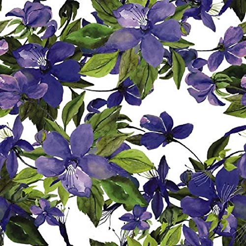 CraftyThings 4 x Paper Napkins - Flowering Clematis Lilac - Ideal for Decoupage/Napkin Art Crafty Things