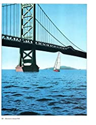 Magazine Print: 1988 Illustrator Guy Billout, Set of 3 Illustrations for The Atlantic Magazine depicting the following ideas: Passage, Quicksand, Power Failure, features Golden Gate Bridge